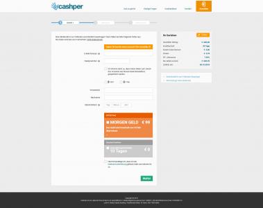 Cashper Website Schritt 1